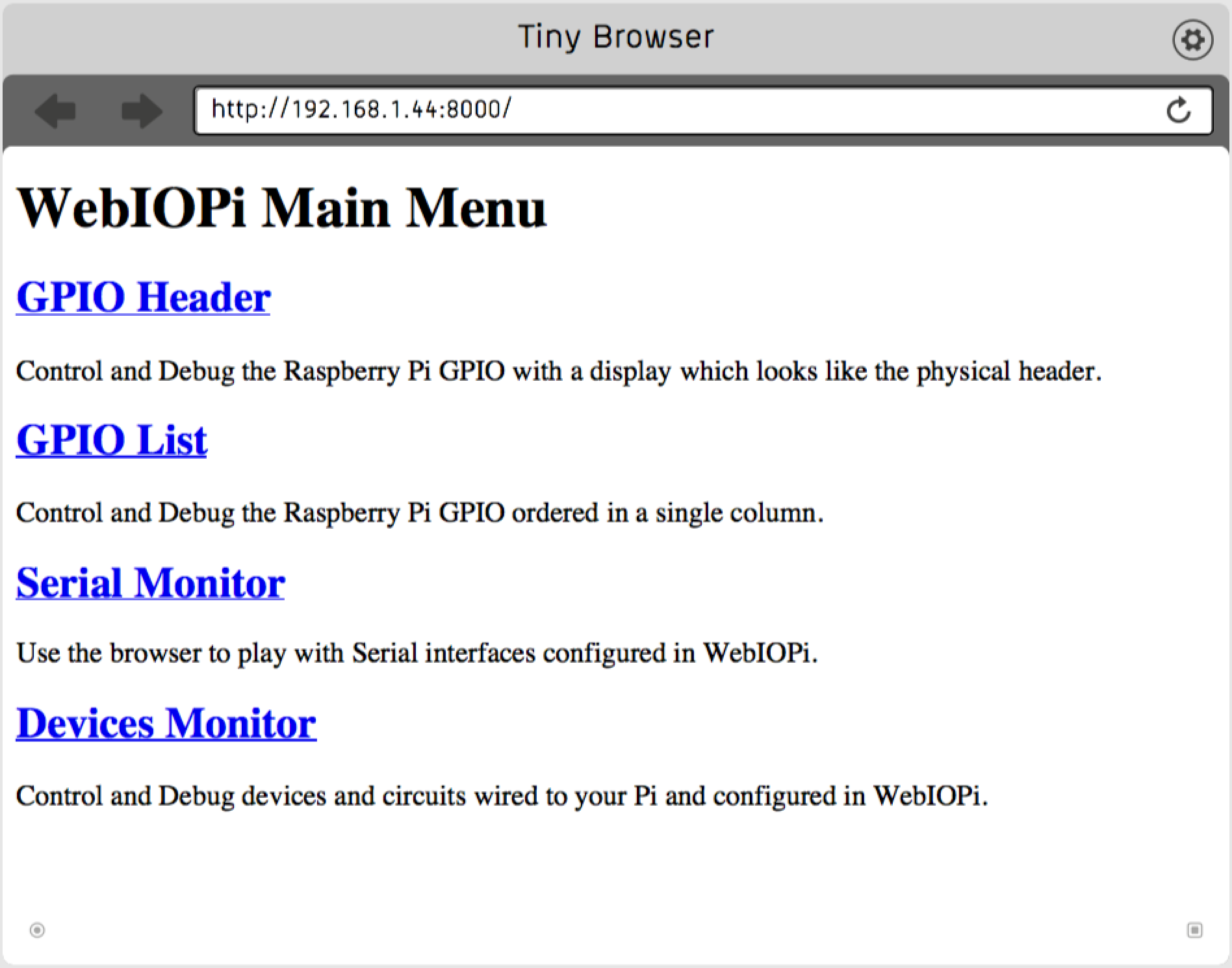 WebIOPi firstStart in Tiny Browser