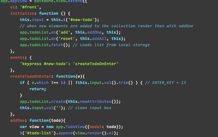 backbone js implementation of an integration todo